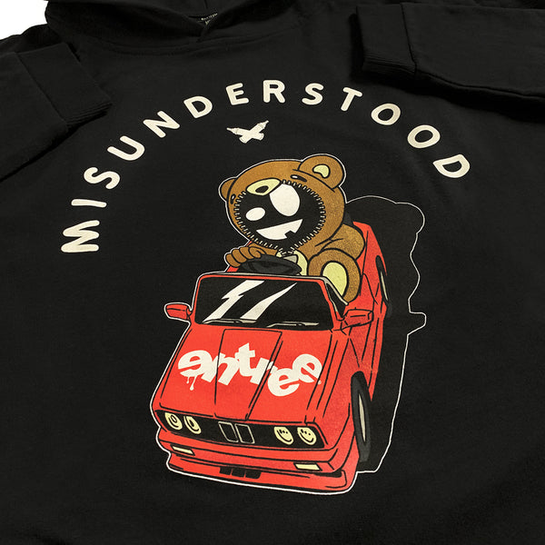 Misunderstood Drop Top Teddy Drop Shoulder Black Pullover Hoodie