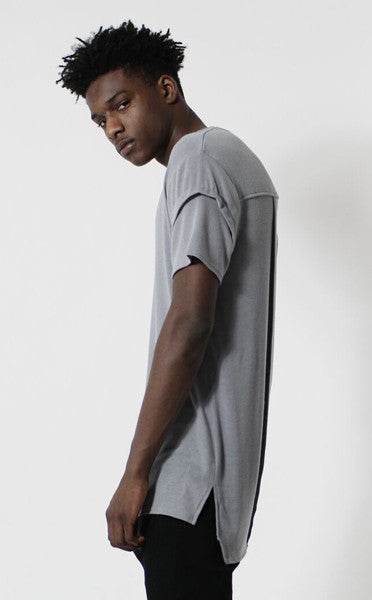 Unknown Gray Elongated Fashion Designer Tee - Low Stock