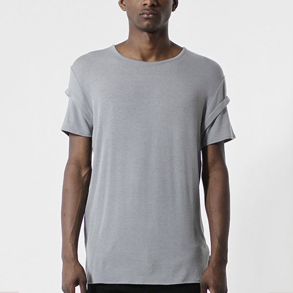 Unknown Gray Elongated Fashion Designer Tee - Only 1 Left!