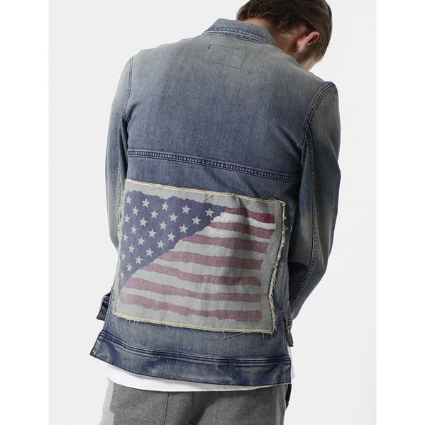Entree LS Olympic USA Flag Vintage Wash Denim Jacket