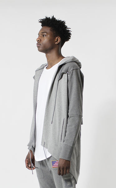 Entree LS Dual Layer Cape Style Gray USA Hoodie