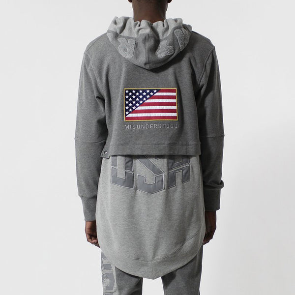 Entree LS Dual Layer Cape Style Gray USA Hoodie - Last One