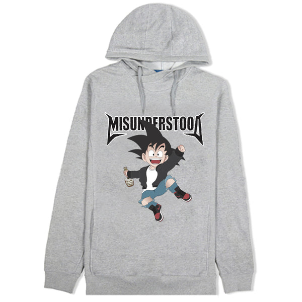 Misunderstood Goku Cut And Sewn Gray French Terry Hoodie - Final Restock