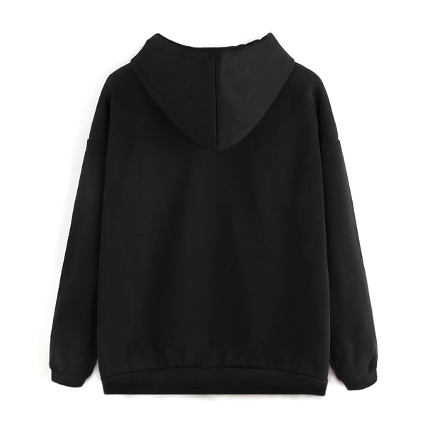 Entree LS Relaxed Black Drop Shoulder Pullover Hoodie