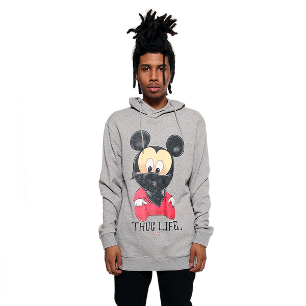 Thug Life III Mickey Mouse Gray French Terry Hoodie