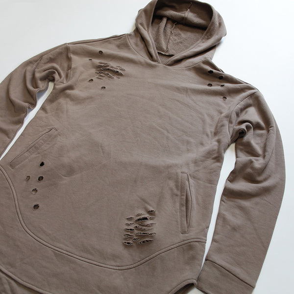Taupe Curved Hem Men Distressed Scoop Hoodie