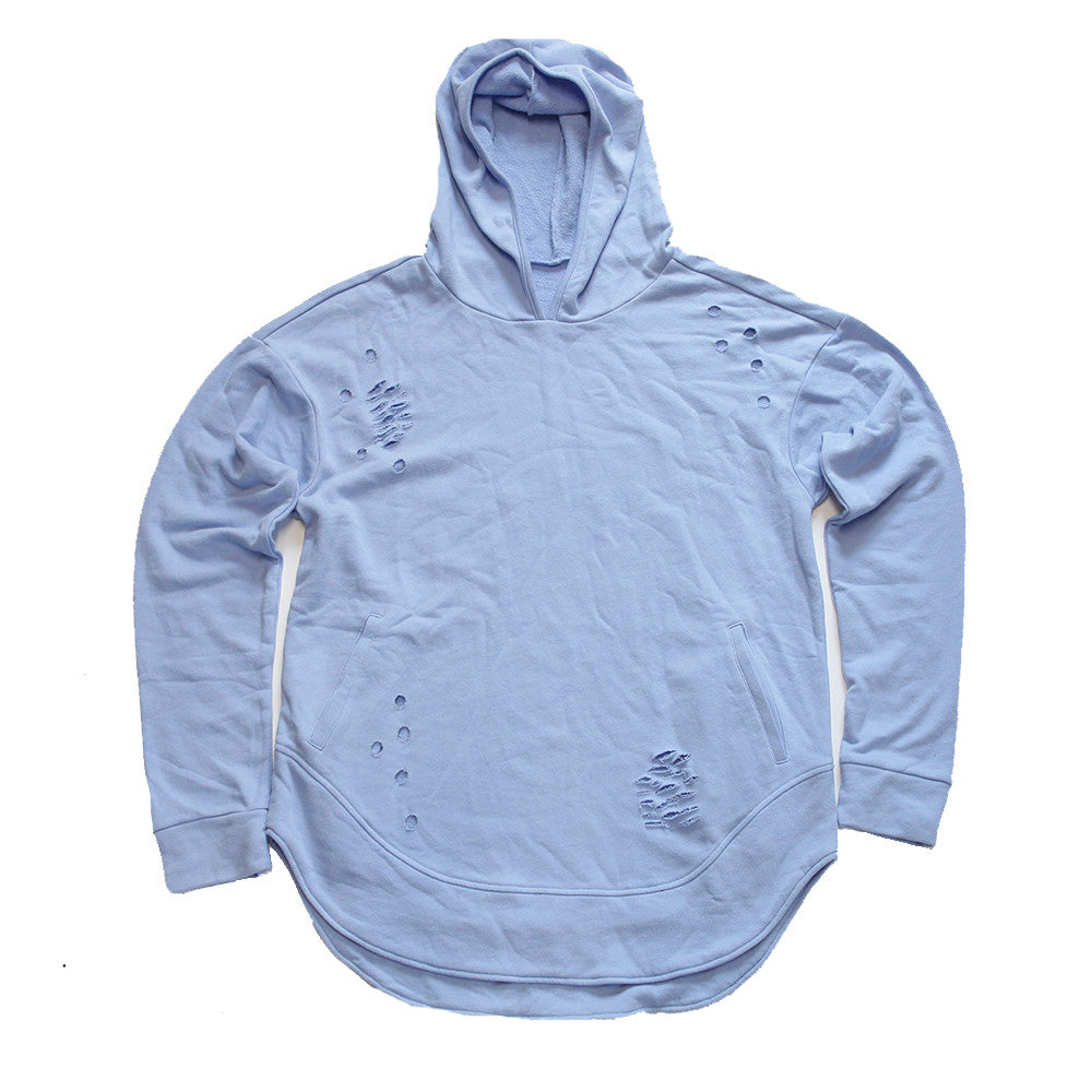 Serenity Curved Hem Men Distressed Scoop Hoodie