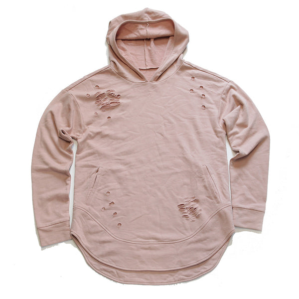 Rose Quartz Curved Hem Men Distressed Hoodie