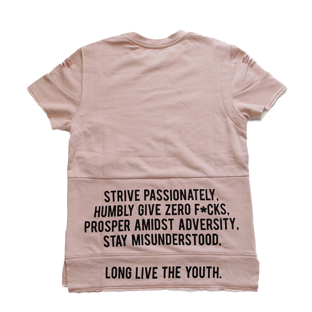 Long Live the Youth Distressed S/S Rose Sweatshirt - Low Stock