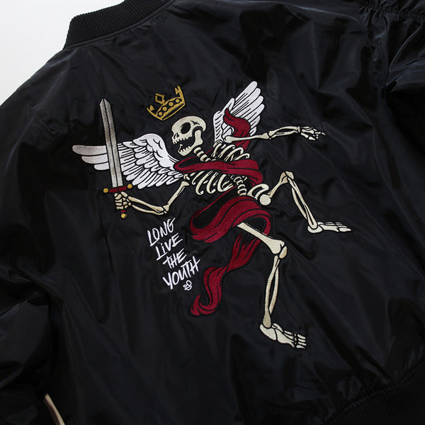 Misunderstood Black Embroidery Bomber Jacket