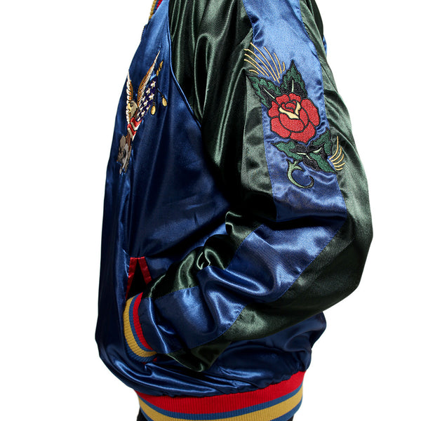 New York 90's Satin Embroidery Bomber Souvenir Jacket