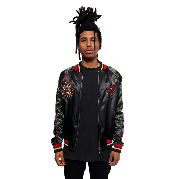 Japanese Tiger Satin Gucci Color Embroidery Bomber Souvenir Jacket