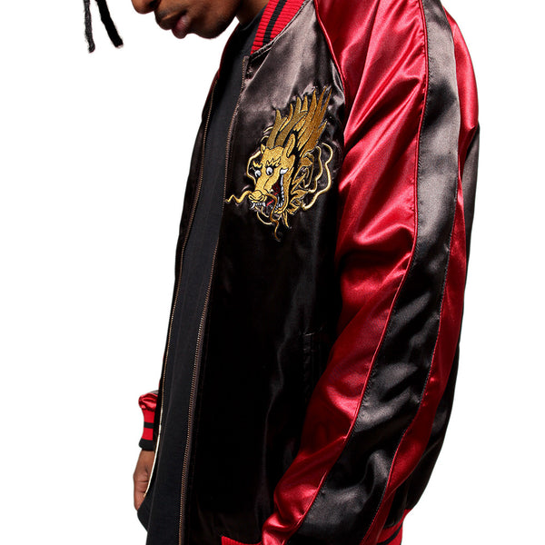 Misunderstood Black & Red Satin Embroidery Bomber Souvenir Jacket - 2 Left!