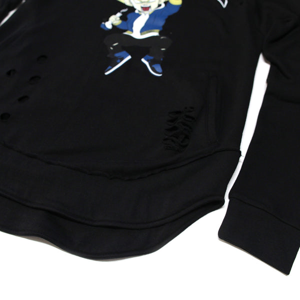 Misunderstood Vegeta Distressed Drop Shoulder Curved Hem Hoodie - Low Stock
