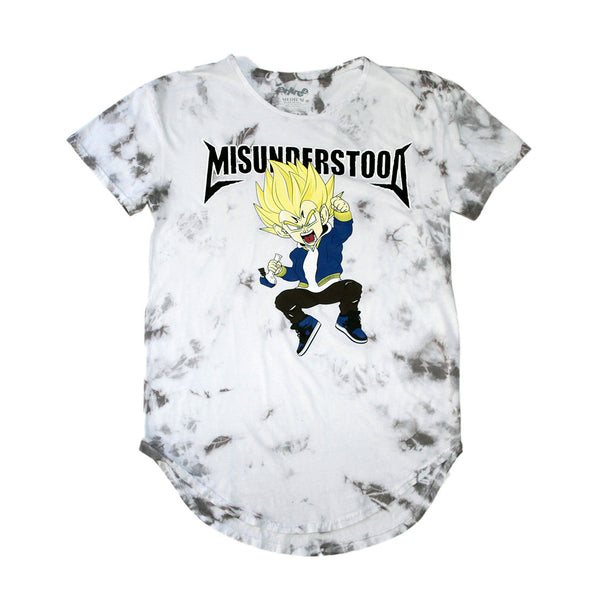 Misunderstood Vegeta White Marble Tie Dye Curved Hem Tee - Low Stock
