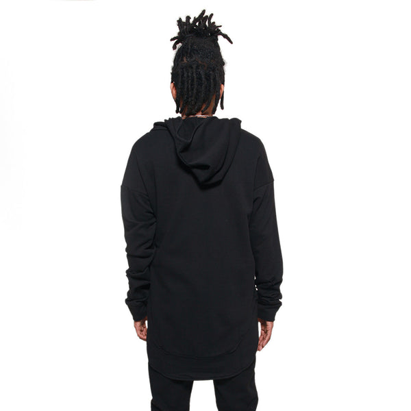 Black Curved Hem Men Distressed Scoop Hoodie