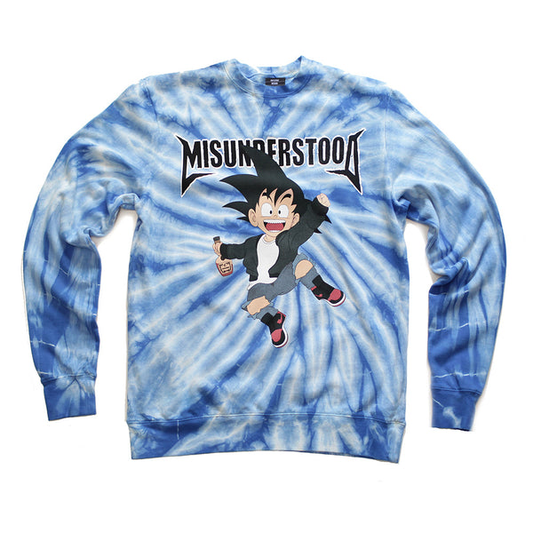 Misunderstood Goku Blue Tie Dye Sweatshirt - Online Only - 1 Left!
