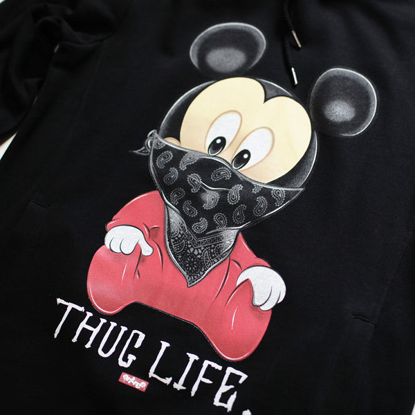 Thug Life III Mickey Mouse Black Custom French Terry Hoodie