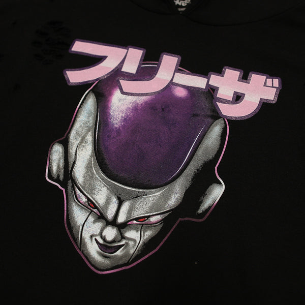 Lord Frieza Black Drop Shoulder Distressed Curved Hoodie