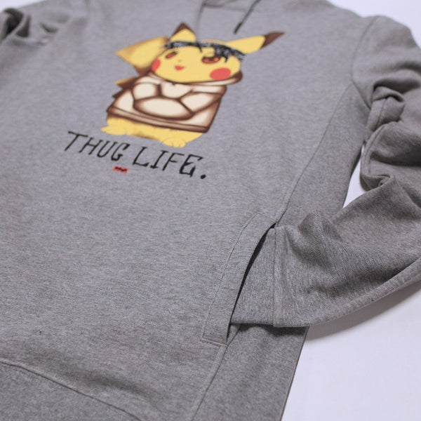 Thug Life IV Pikachu Custom Gray French Terry Hoodie