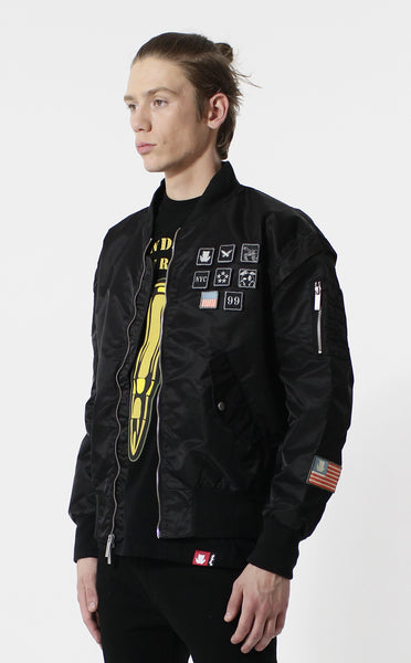 Entree LS Militeddy MA-1 Black Flight Bomber Jacket