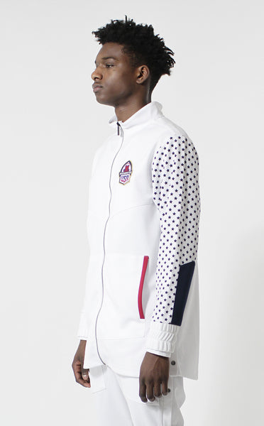 Entree LS USA Olympic Warm Up White Track Jacket