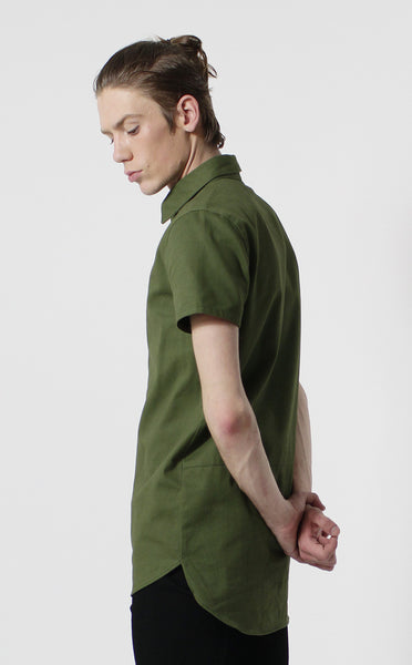 Unknown Alacrity S/S Olive Two Way Zipper Down Shirt