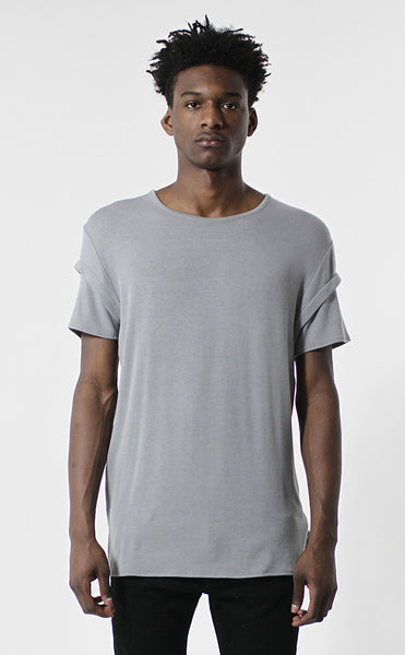 Unknown Gray Elongated Fashion Designer Tee