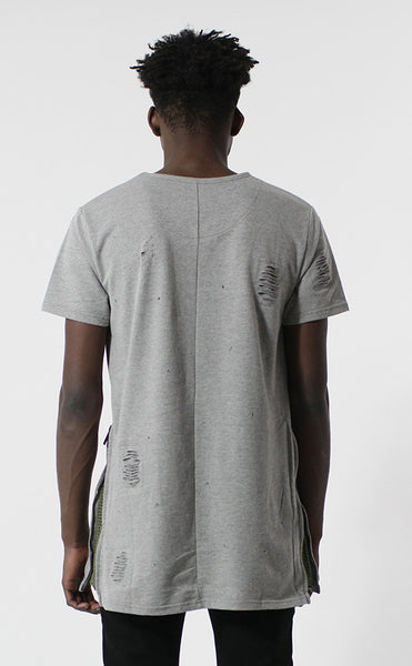 Unknown Requiem Rip & Distressed Gray French Terry Tee - Last One!
