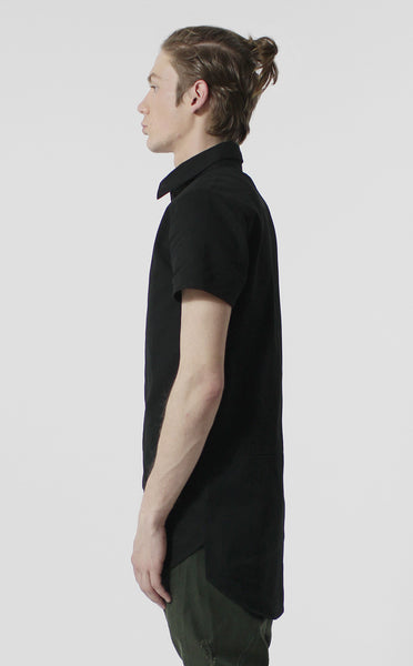 Unknown Alacrity S/S Black Two Way Zipper Down Shirt - Only One Left!
