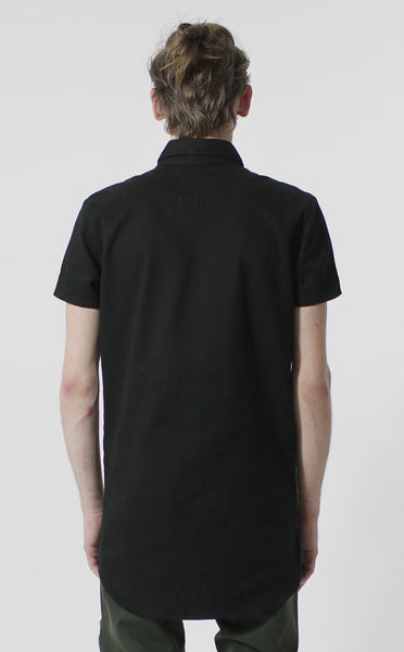Unknown Alacrity S/S Black Two Way Zipper Down Shirt