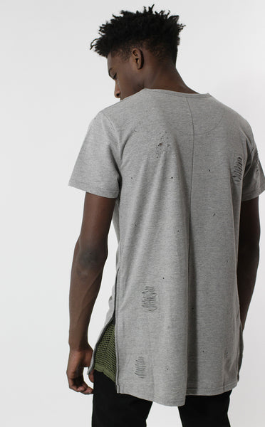 Unknown Requiem Rip & Distressed Gray French Terry Tee