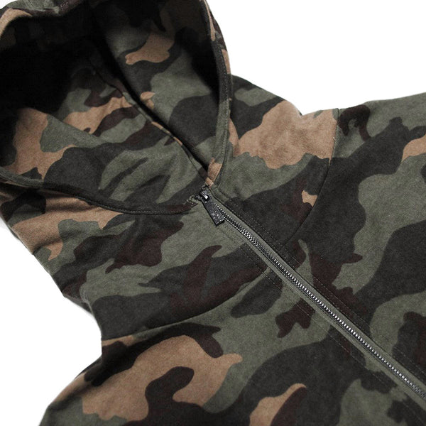 Vietnam Brushed Camo Embroidery Half Zip Pull Over Hoodie - Final Restock