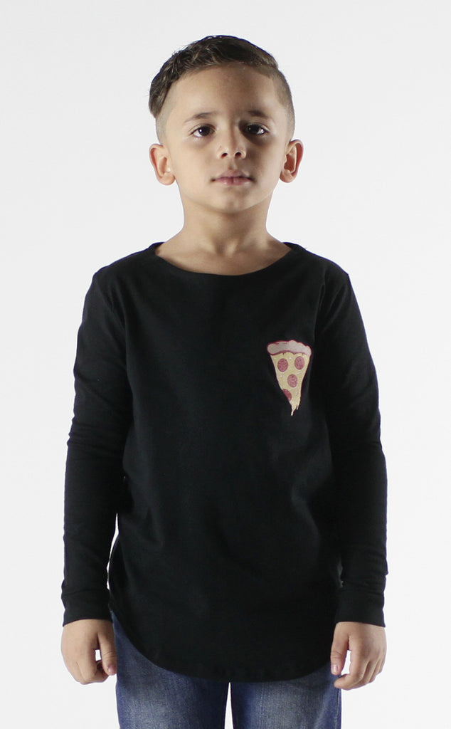 Entree Kids Because Pizza Curved Hem Long Sleeve Tee In Black