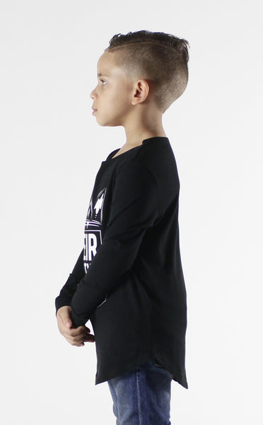 Entree Kids Heir To The Throne Black Curved Hem Long Sleeve Tee