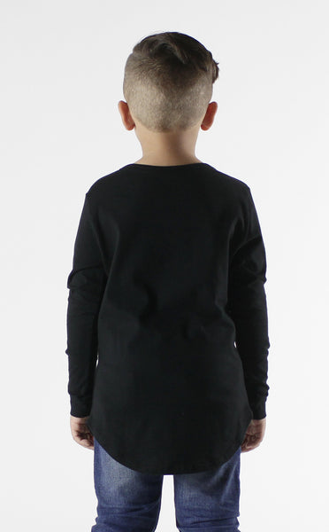 Entree Kids Misuderstood Teddy Bear Black Curved Hem Shirt