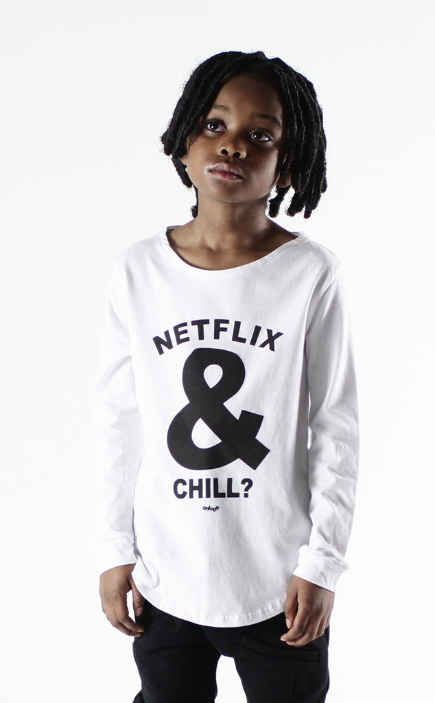 Entree Kids Netflix & Chill White Curved Hem Long Sleeve Tee
