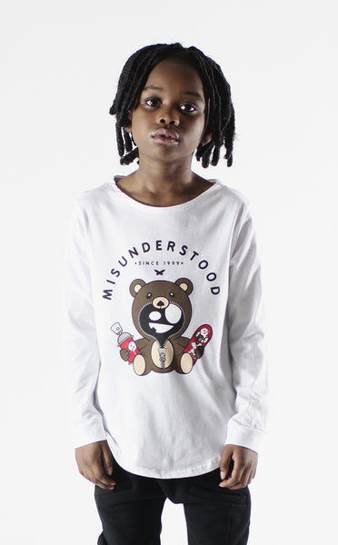 Entree Kids Misuderstood Teddy Bear White Curved Hem Long Sleeve T-Shirt