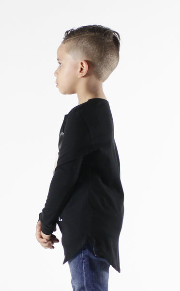 Entree Kids Thug Life Mickey Curved Hem Long Sleeve Tee In Black