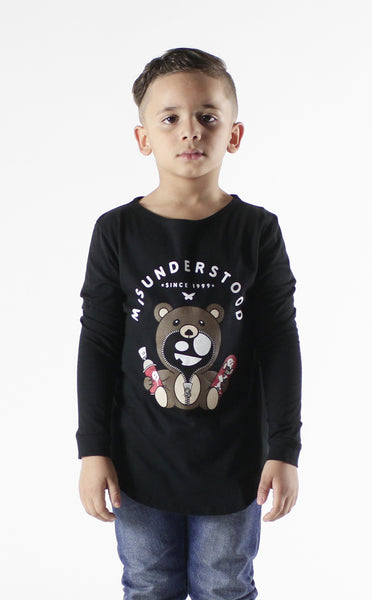 Entree Kids Misuderstood Teddy Bear Black Curved Hem Long Sleeve T-shirt