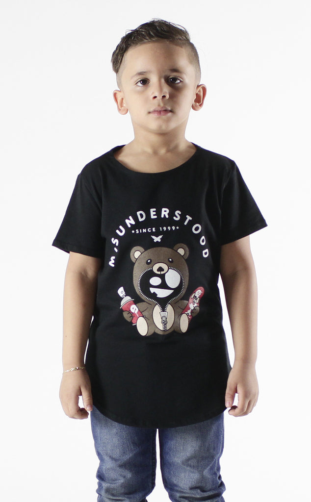 Entree Kids Misuderstood Teddy Bear Black Curved Hem Tee - 2 Left!