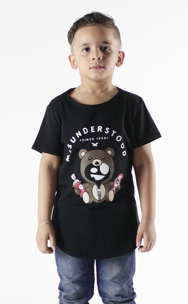 Entree Kids Misuderstood Teddy Bear Black Curved Hem Tee