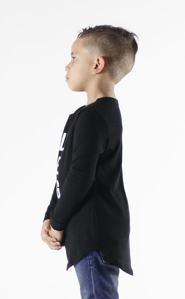 Entree Kids Big Poppa Black Curved Hem Long Sleeve Tee