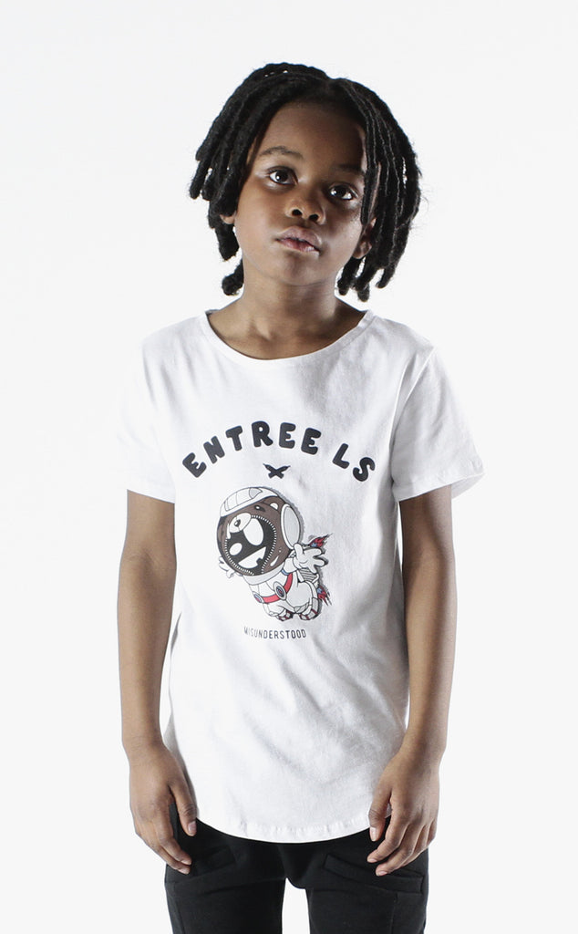 Entree Kids Astronaut Bear Curved Hem Tee In White