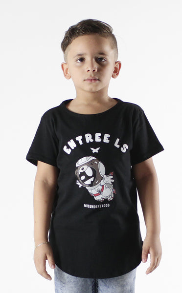 Entree Kids Astronaut Bear Curved Hem Tee In Black