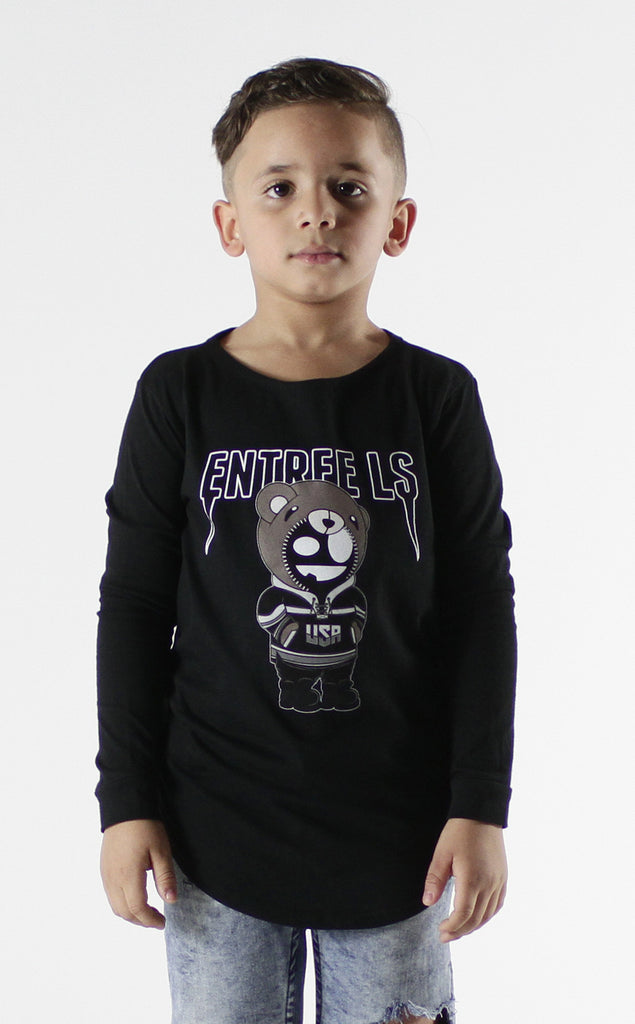Entree Kids Bear Tour Curved Hem Long Sleeve