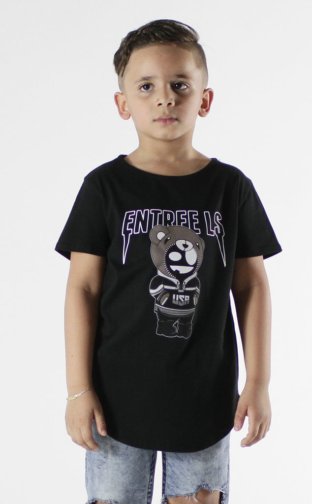 Entree Kids Bear Tour Black Curved Hem Tee