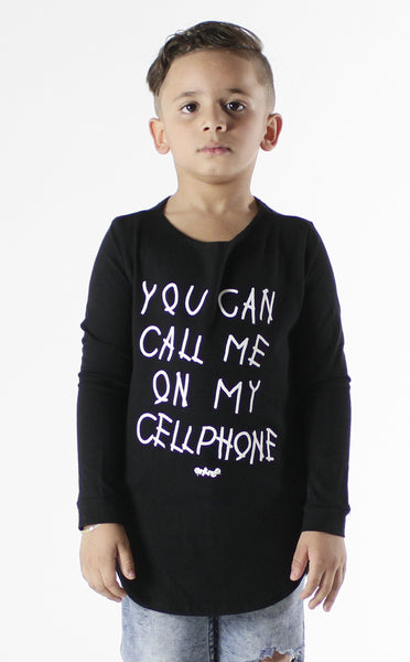 Entree Kids Hotline Bling Black Curved Hem Long Sleeve Tee