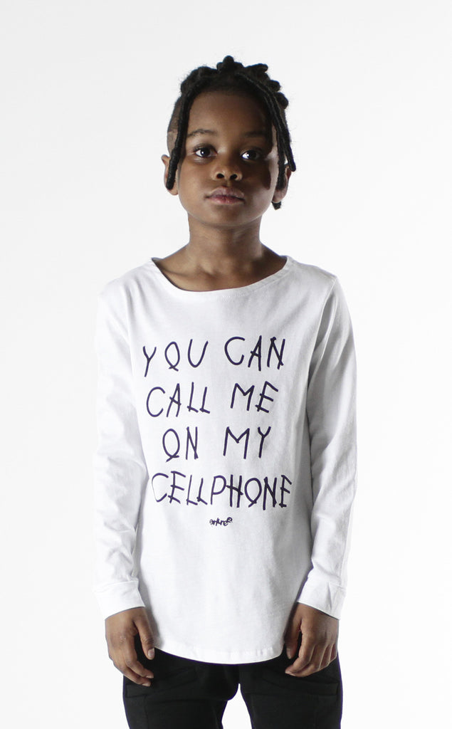 Entree Kids Hotline Bling White Curved Hem Long Sleeve Tee