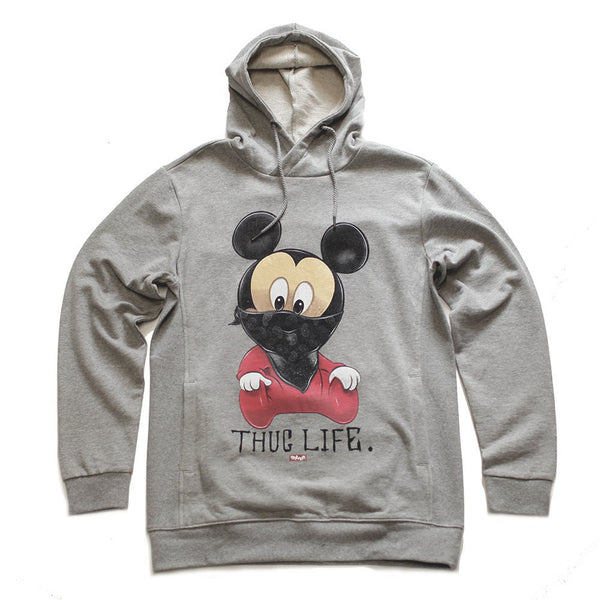 Thug Life III Mickey Mouse Heather Gray Custom French Terry Hoodie